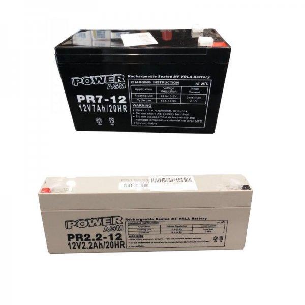 Ζευγάρι Μπαταριών Συναγερμού (Σειρήνας + Κουτιού) Power 12V 7Ah + 12V 2,2Ah VRLA - AGM