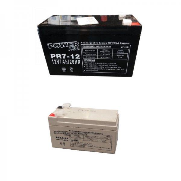 Ζευγάρι Μπαταριών Συναγερμού (Σειρήνας + Κουτιού) Power 12V 7Ah + 12V 1,3Ah VRLA - AGM